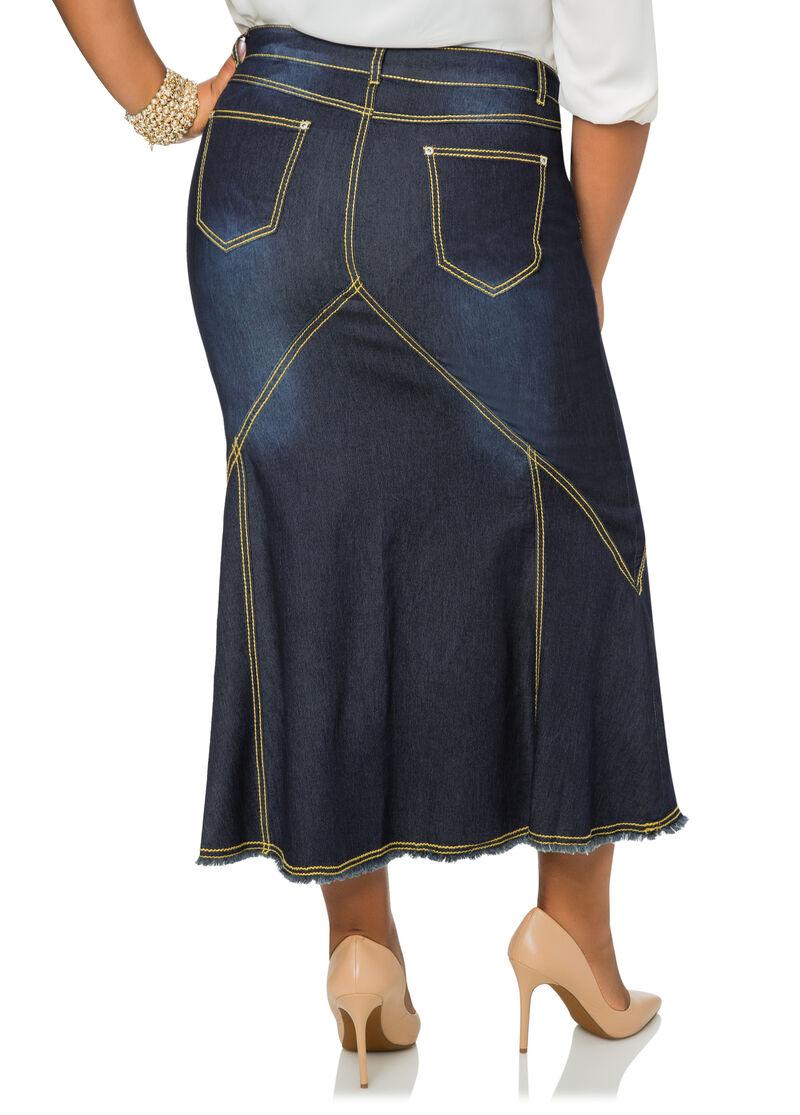 Contrast Stitch Long Denim Jean Skirt-Plus Size Denim Jeans-Ashley ...