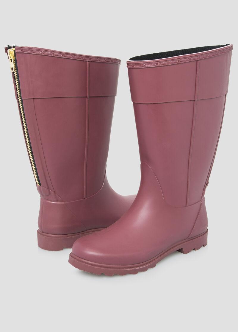 Zip Back Rain Boot-Wide Calf Boots-Ashley Stewart-068-ASH-B47