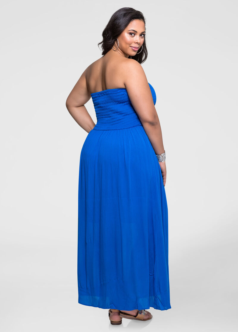 Strapless Smocked Gauze Maxi Dress-Plus Size Dresses-Ashley ...