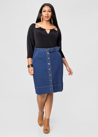 Button Front Jean Skirt-Plus Size Skirts-Ashley Stewart-034-SKA41667X
