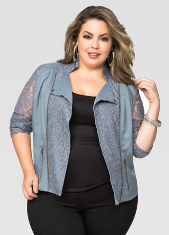 Lace Moto Jacket-Plus Size Motorcycle Jacket-Ashley Stewart
