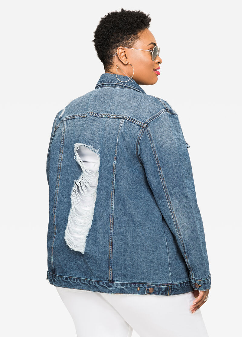 Plus Size Jeans & Denim - Ripped Boyfriend Jean Jacket - 034 ...