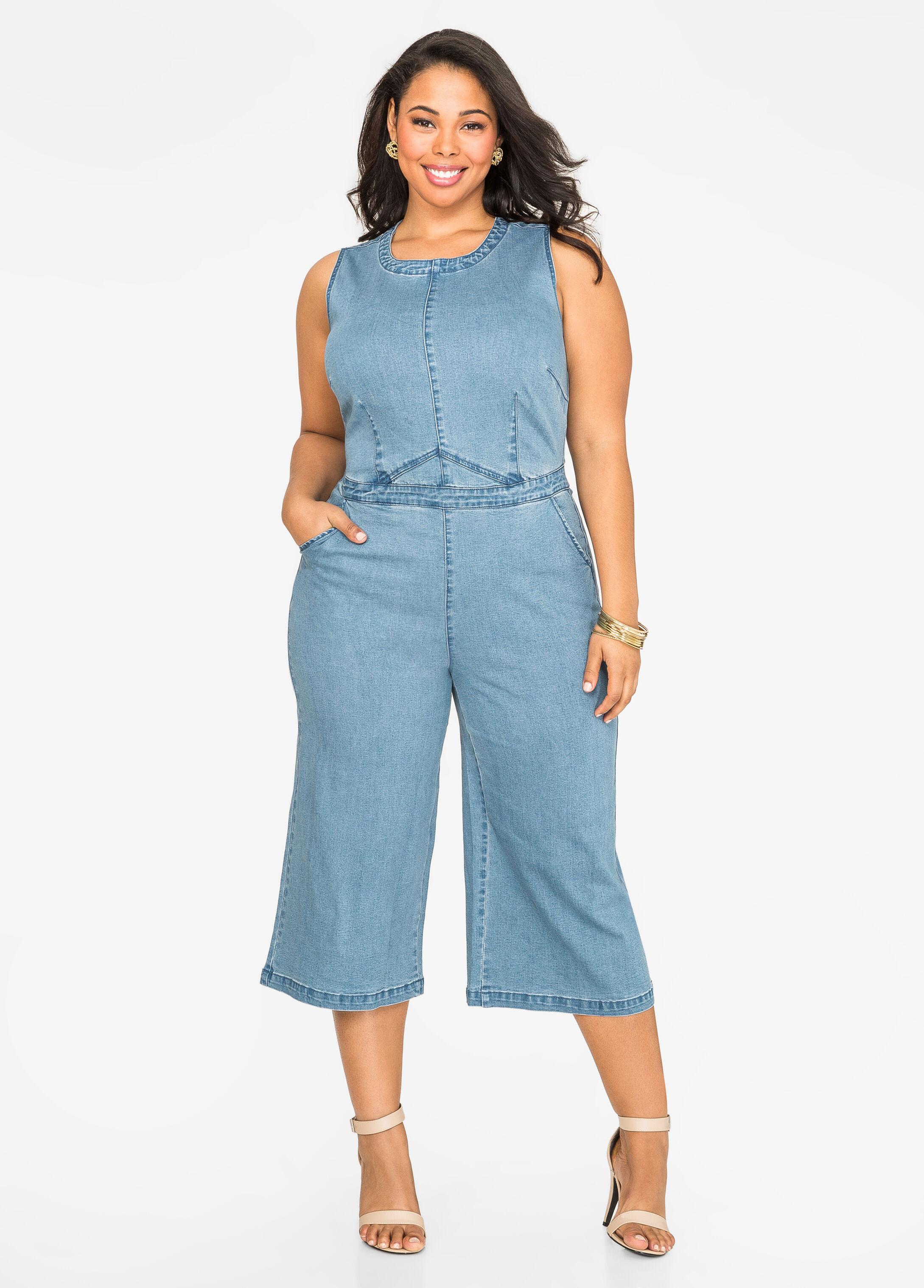 dc656b588f65 Plus size jean gaucho jumpsuit jpg 346x482 Plus size denim jumpsuits for  women