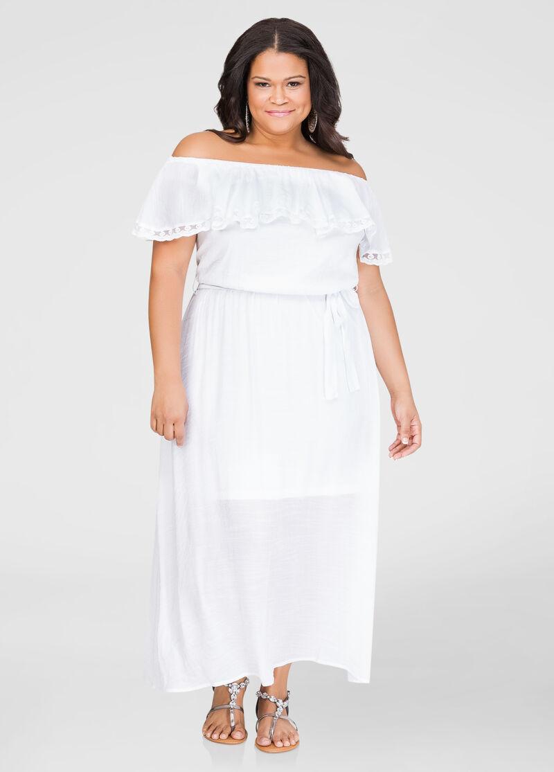Lace Trim Off-Shoulder Maxi Dress-Plus Size Dresses-Ashley Stewart ...