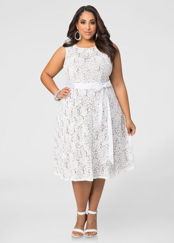 Lace Special Occasion Dress-Plus Size Dresses-Ashley Stewart-010-9177W