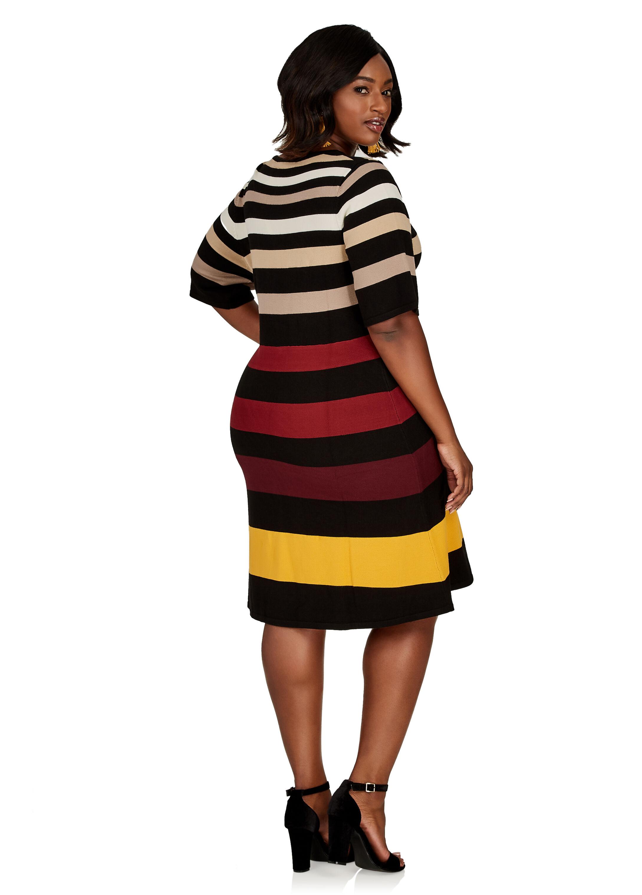 Plus Size Dress - Striped Sweater Dress