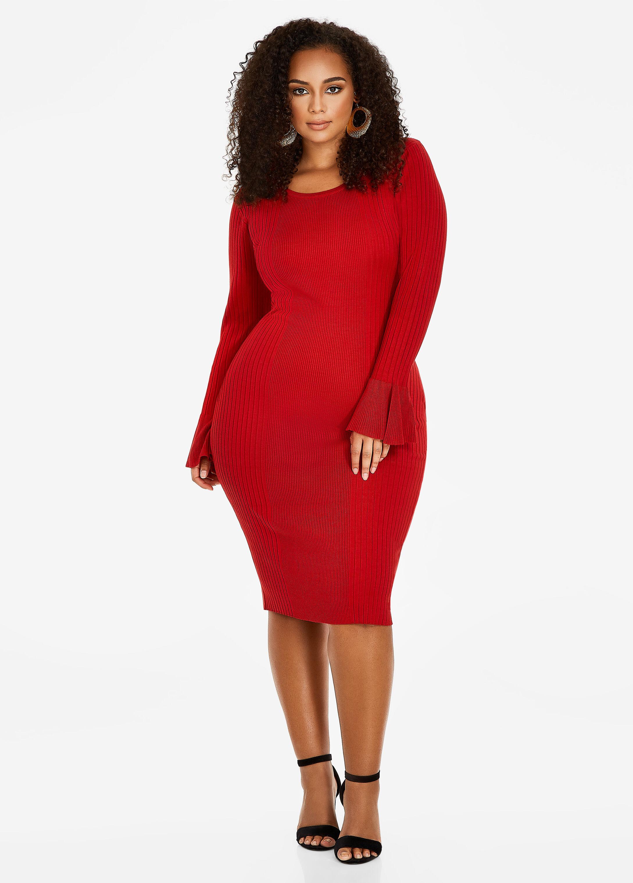 Plus Size Sweater Dress - Ruffle Sleeve Sweater Dress